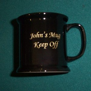 Black Mug including engraving.