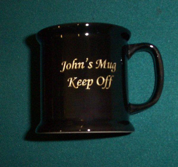 Black Mug including engraving.