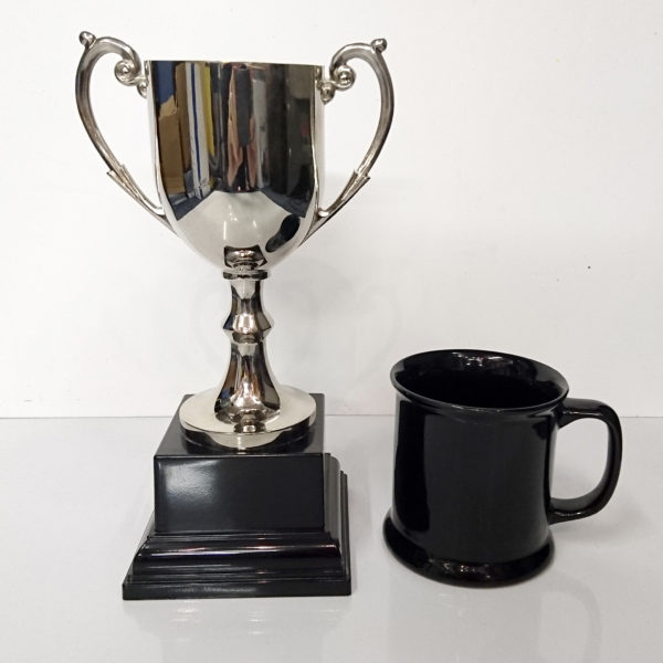 Presentation Cup, Cast Nickel Plated, 24.5cm high