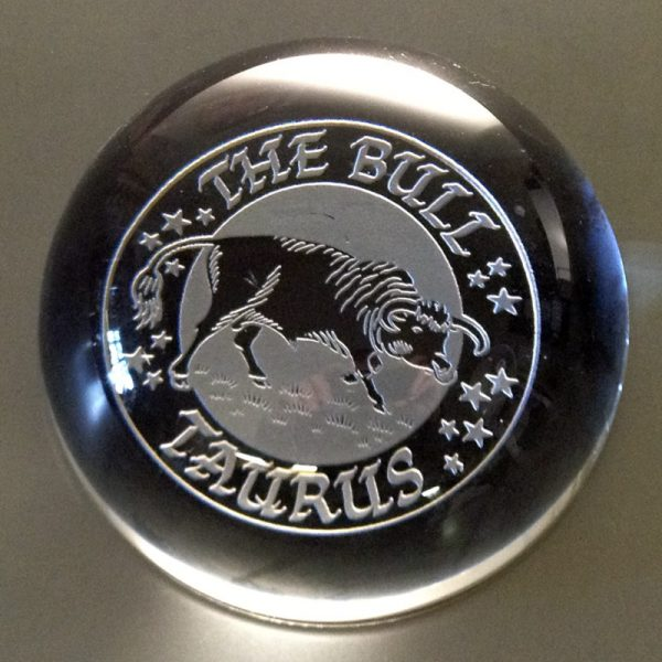 Taurus pre-engraved Domed Paperweight 9cm