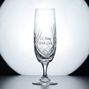Durham 24% Lead Crystal Champagne Flute. Engraved