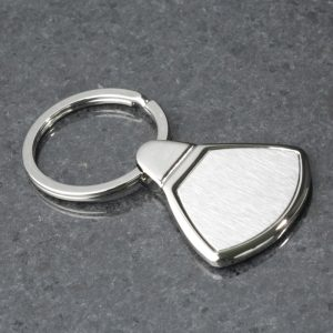 Steel Keyring (Wide Triangular) including engraving.