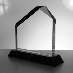 Crystal Trophy with black base. Height 15cm